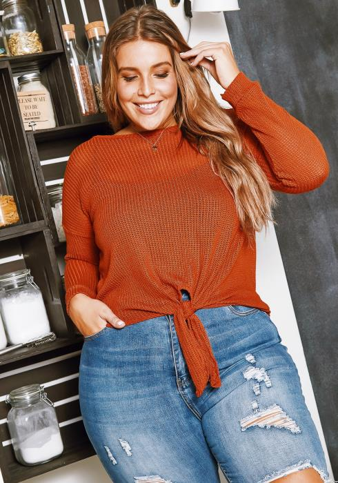Asoph Plus Size Loose Waffle Knit Womens Sweater Top