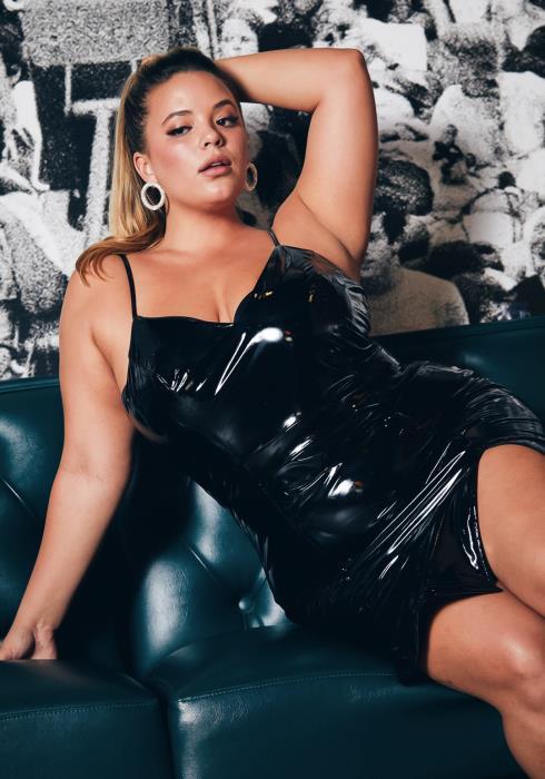 Asoph Curvy Womens Jet Black PU Leather Mini Dress
