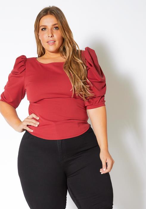 Asoph Plus Size Puffed Up Shoulder Blouse