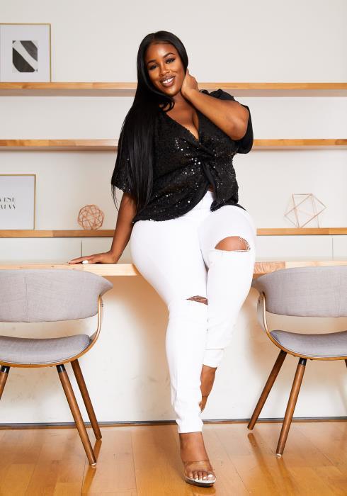 Asoph Plus Size Front Twist Party Sequin Womens Blouse