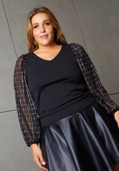 Asoph Plus Size Glitter Plaid Contrast Women Blouse