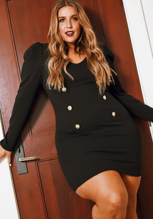 Asoph Plus Size Sailor Buttoned Mini Womens Black Dress