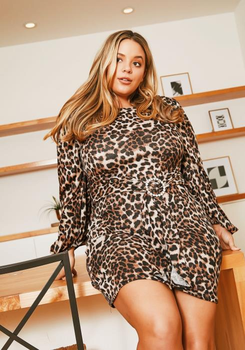 Asoph Plus Size Leopard Hunt Sweater Dress