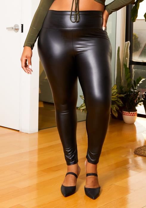 Asoph Curvy Womens Matte Black Pleather High Rise Leggings