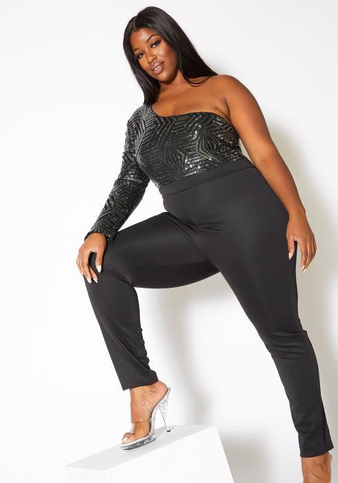 Asoph Plus Size Sequin Contrast Womens One Shoulder Party Jumpsuit