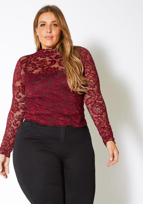 Asoph Plus Size Womens Romantic Floral Lace Mock Neck Top