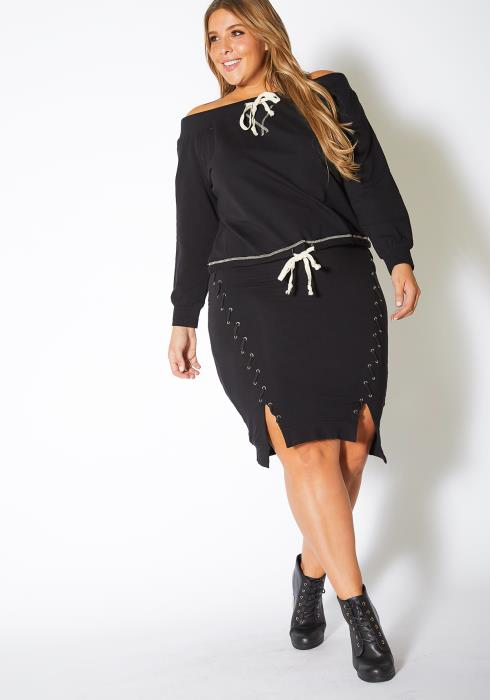 Asoph Plus Size Double Front Lace Up Womens Midi Skirt