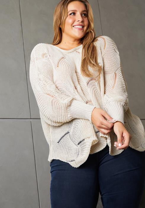 Asoph Plus Size Flowy Patterned Fresh Knit Women Sweater
