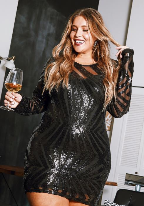 Asoph Curvy Womens Geometric Sequin & Mesh Contrast Bodycon Party Dress
