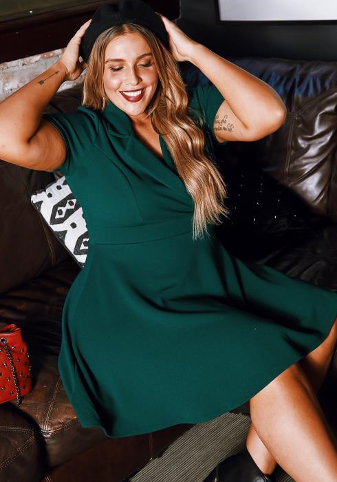 Asoph Plus Size Womens Notch Collar Fit & Flare Mini Dress