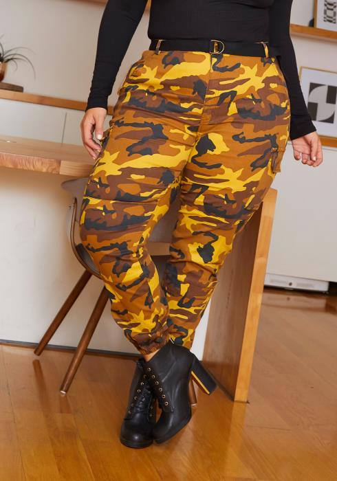 Asoph Plus Size Come & Find Me Womens Orange Camo Cargo Pants