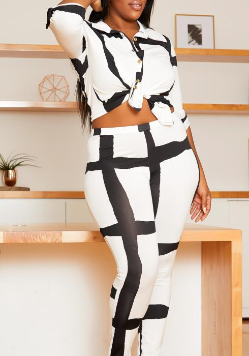 Asoph Curvy Womens Abstract Patterned Collar Blouse & Leggings Set