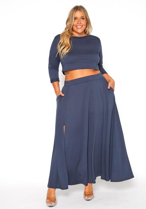 Asoph Plus Size Crop Top Slit Maxi Skirt Set