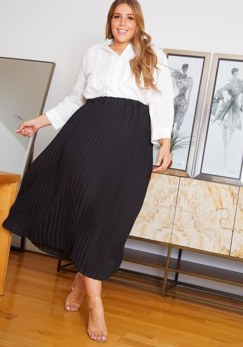 Asoph Plus Size Pleated Midi Skirt