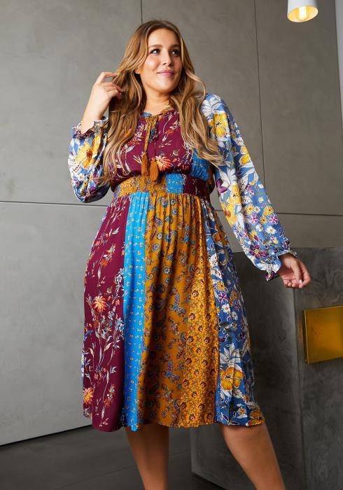 Asoph Plus Size 90s Boho Midi Dress
