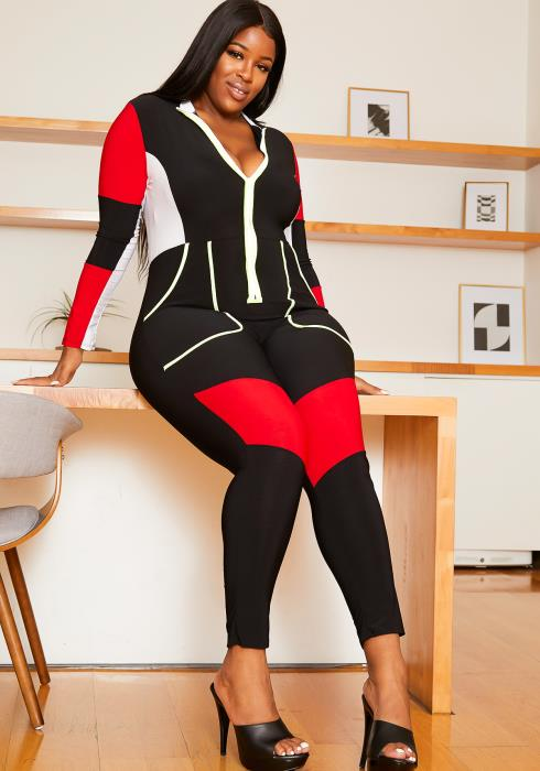 Asoph Plus Size Womens Motor Sport Inspired Jumpsuit