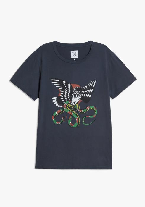 Ed Hardy Eagle Snake Washed Tee in Charcoal