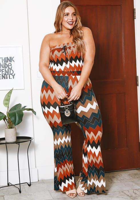 Asoph Curvy Womens Fall In Love Chevron Striped Tube Top & Flare Pants Set