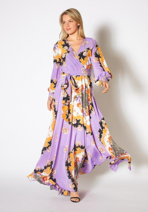 Tansy Womens Floral Mixed Lavender Chiffon Maxi Dress