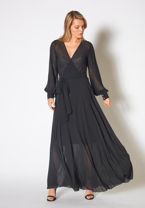 Tansy Womens Black Chiffon Maxi Gown