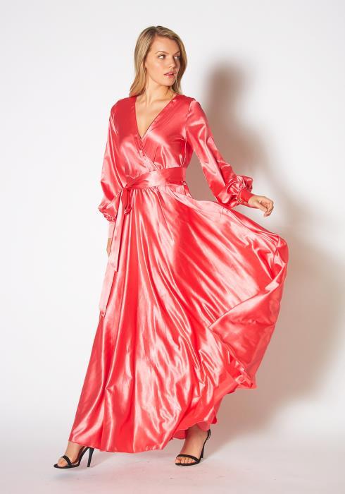 Tansy Womens Coral Silk Dream Maxi Dress