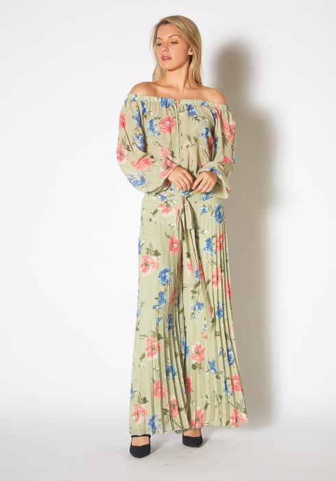 Tansy Womens Off The Shoulder Vintage Floral Jumpsuit