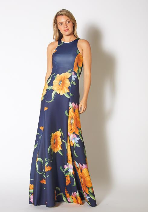 Tansy Womens Golden Floral Gardenia Tank Maxi Dress