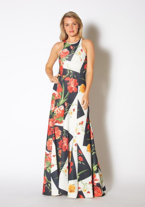 Tansy Womens Mixed Floral Block Maxi Sleeveless Dress