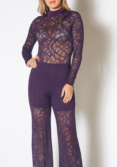 Tansy Womens Purple Hollow Lace Long Sleeve Jumpsuit