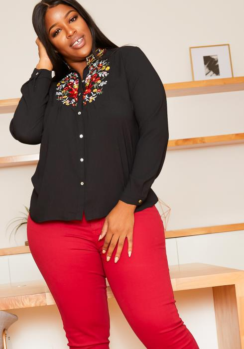 Asoph Plus Size Mexican Embroidered Mock Neck Collar Blouse
