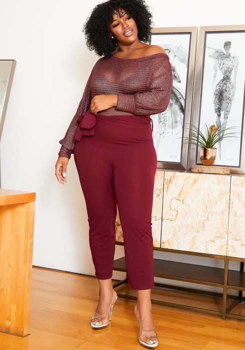 Asoph Plus Size Shimmer Knit Contrast Womens Burgundy Jumpsuit