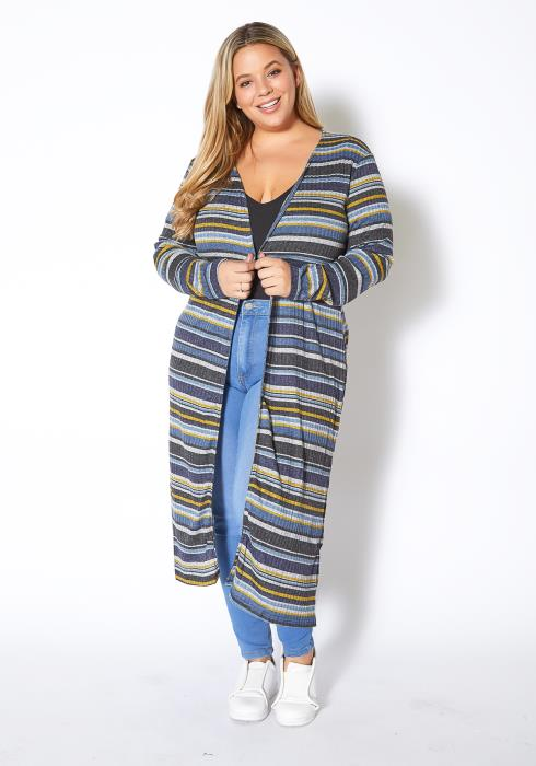 Asoph Plus Size Multi Stripe Open Front Long Cardigan