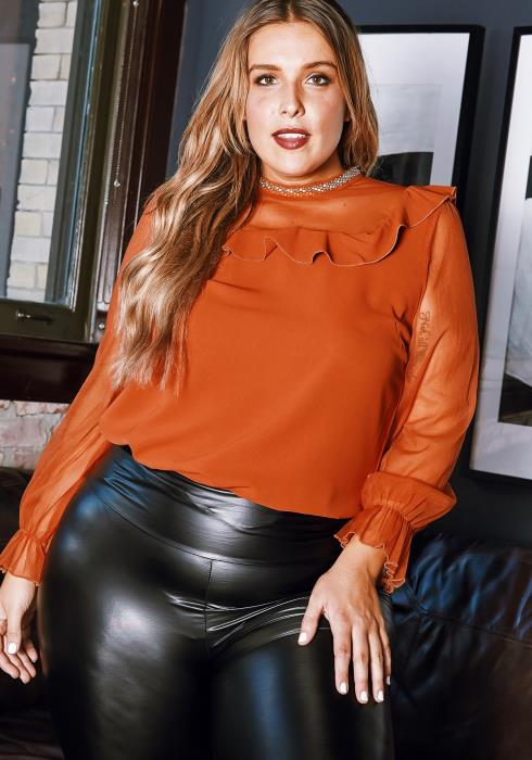 Asoph Plus Size Stud Embellished Ruffle Blouse