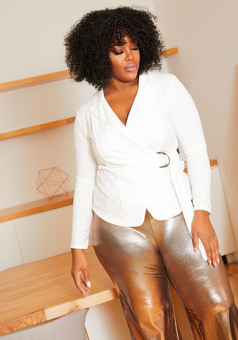 Asoph Plus Size Boss Lady Notch Collar Belt Wrap Blouse