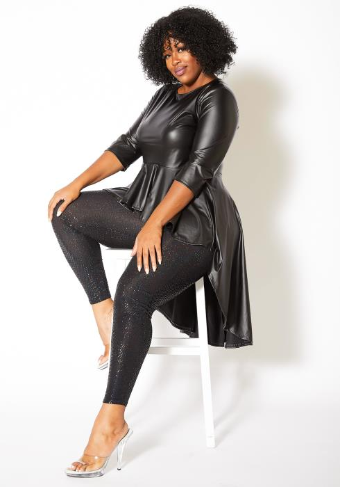Asoph Plus Size Bat Women Leather Top