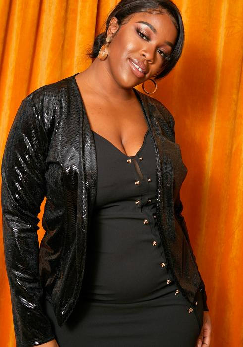Asoph Plus Size Black Faux Sequin Womens Blazer