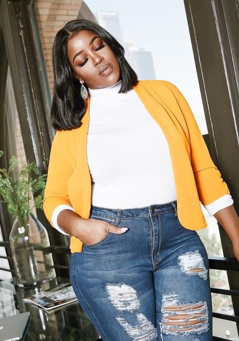 Asoph Plus Size Boss Mode Open Front Mustard Women Blazer