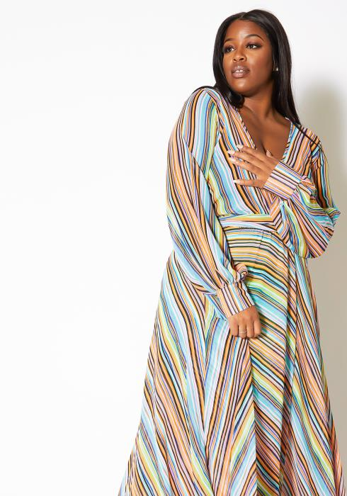 Asoph Plus Size Candy Striped Womens Maxi Gown