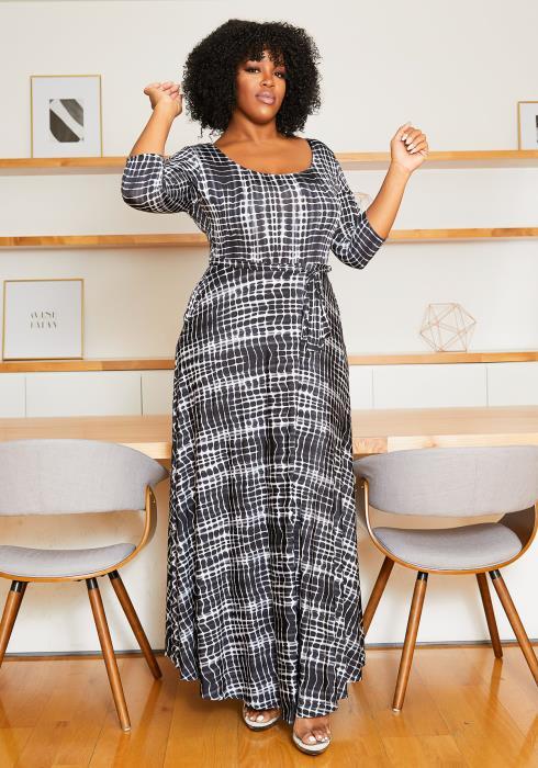 Asoph Plus Size Cloudy Patterned Women Maxi Dress