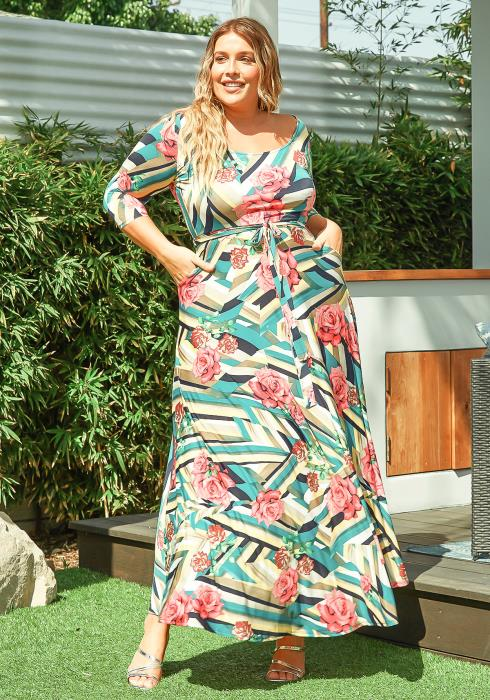 Asoph Plus Size Devine Rose Patterned Women Maxi Dress