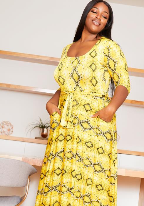 Asoph Plus Size Fit & Flare Womens Yellow Snake Print Maxi Dress