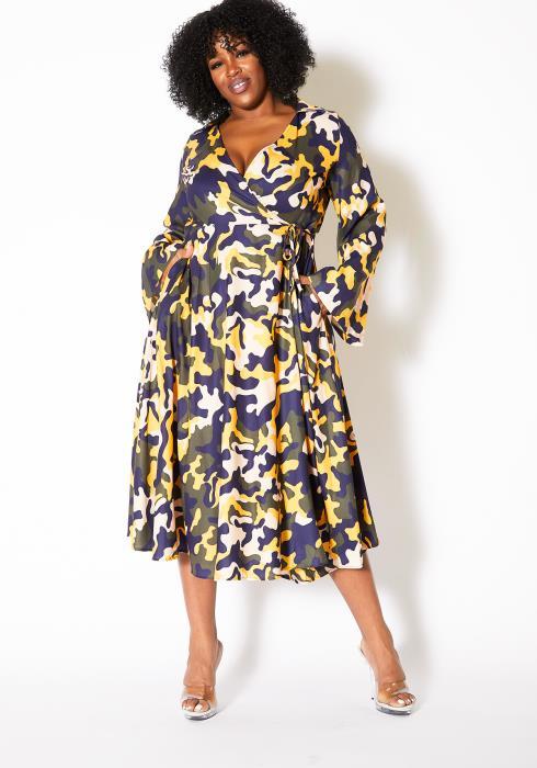 Asoph Plus Size Unforgotten Camo Womens Wrap Midi Dress