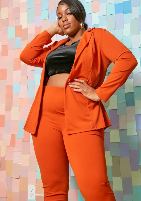 Asoph Plus Size Boss Womens Notch Collar Blazer & Fitted Solid Pants Set