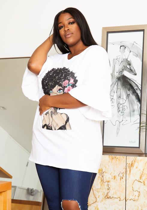 Asoph Plus Size Rosy Afro Style Womens Graphic Tee