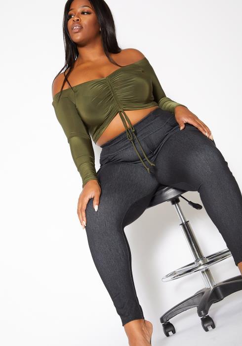 Asoph Plus Size Dark Chambray Womens Skinny Jeggings