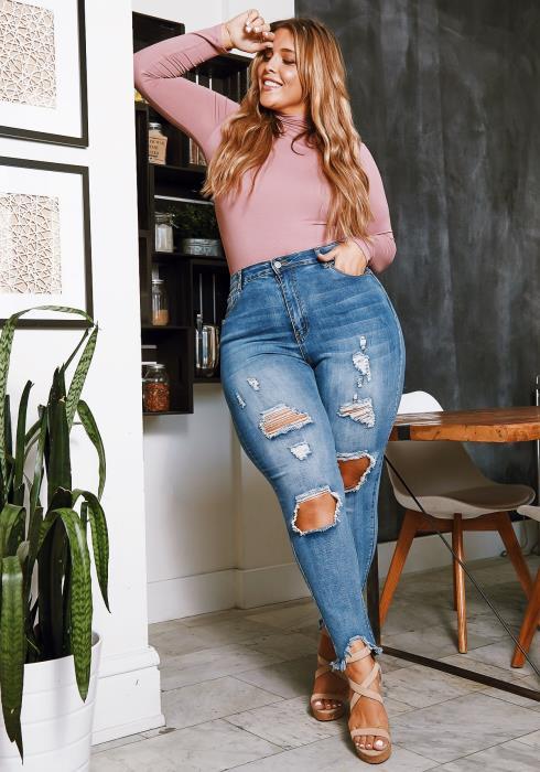 Asoph Plus Size Ripped Hem High Waist Skinny Jean