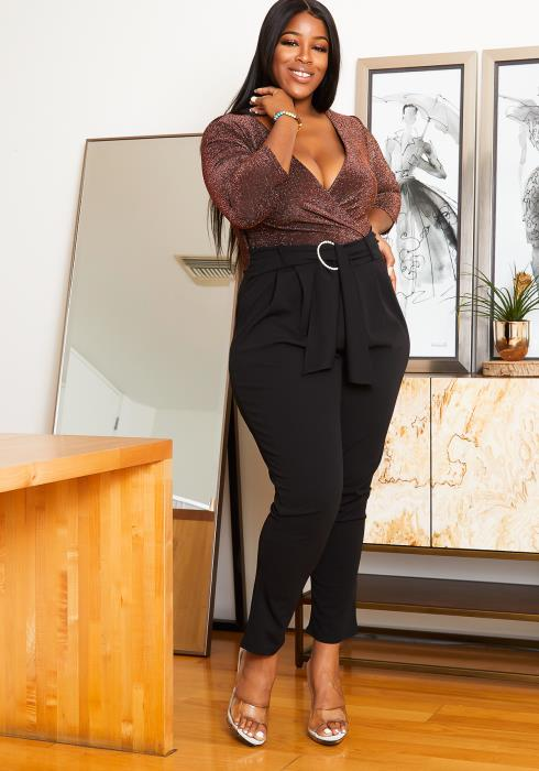 Asoph Plus Size Formal Party Shimmer Contrast Women Jumpsuit
