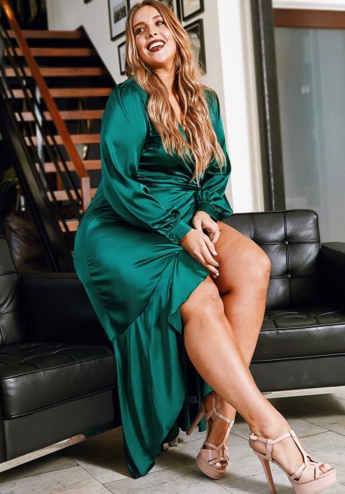 Asoph Plus Size Womens Luxurious Emerald Satin Wrap Maxi Dress