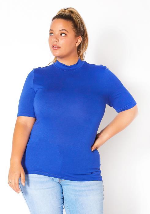 Bellatrix Plus Size Womens Half Sleeve Mock Neck Top