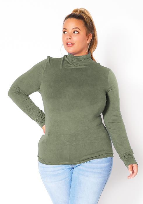 Bellatrix Plus Size Womens Long Sleeve Turtle Neck Top
